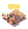 freight sorting isometric composition vector image vector image