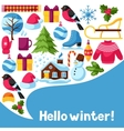 Hello winter background Merry Christmas Happy vector image vector image
