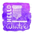 Hello winter lettering text Brush and boots on