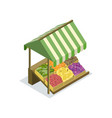 market food counter with canopy isometric icon vector image vector image