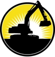 Mechanical Digger with sunburst vector image vector image