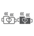 mugs with heart line and glyph icon drink and vector image vector image