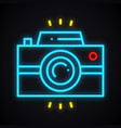 neon camera sign bright photo camera symbol vector image
