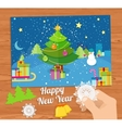 New Year greeting card with christmas tree snowman vector image vector image