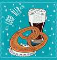 pretzel or kringle with glass of stout or porter vector image