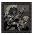 ragnarok battle of the god odin with the wolf vector image vector image