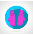 Round flat icon for pink mittens vector image vector image