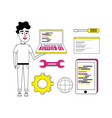 set of coding cartoons vector image vector image
