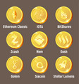 set of golden cripto currency logo coins vector image