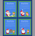 set of new year banners with santa claus and elf vector image vector image