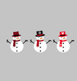 snowmen with scarf hat and carrot cute vector image vector image