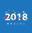soccer players in action on 2018 new year vector image vector image
