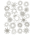 Sun symbols for your design Hand drawn set of vector image