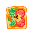 tasty sandwich with slices of cucumber tomatoes vector image