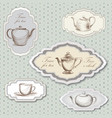 tea cup pot kettle retro card tea time vintage vector image vector image