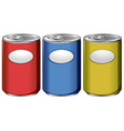 Three cans with different color labels vector image vector image