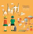 Trendy Flat Design Travel vector image