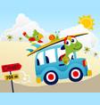turtle driving car at summer vacation cartoon vector image vector image