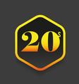 twenties sign gold hexagon vector image
