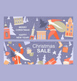 two greeting christmas banners with funny santa vector image