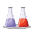 two simple erlenmezey flask with purple and red vector image vector image