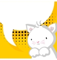 White cute little kitty baby comic balloon vector image vector image