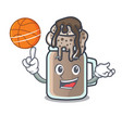 with basketball milkshake character cartoon style vector image vector image