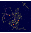 Zodiac sign Sagittarius over starry sky vector image vector image