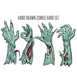 zombie hand set vector image vector image