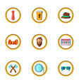 happy hipster icon set cartoon style vector image