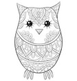 adult coloring bookpage a cute owl image vector image vector image