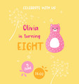 birthday bacard with bear animal number eight vector image vector image