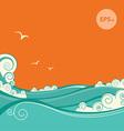 blue sea waves seascape vector image vector image