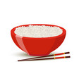 boiled rice in red bowl cartoon style vector image