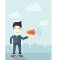 Businessman in the field holding a megaphone vector image