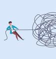 businessman pulls rope complex problem solving vector image