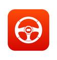 car steering wheel icon digital red vector image vector image