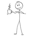 cartoon man holding and pointing at cup hot vector image