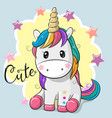 cartoon unicorn isolated on a blue background vector image vector image