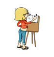 cute cartoon girl sketching with easel and vector image vector image