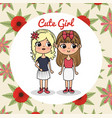cute girls couple characters with floral frame vector image