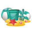 different beach toys on sand vector image vector image