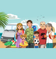 family on beach vacation vector image