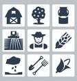 farming icons set vector image vector image