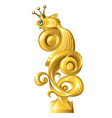 fish figurine made gold isolated on white vector image vector image