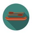 flat design modern canoe icon with long shadow vector image