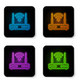 glowing neon router and wi-fi signal symbol icon vector image