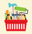 Hand Tools In Shopping Basket vector image vector image