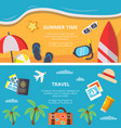 horizontal banners with summer time pictures and vector image vector image