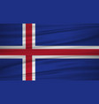 iceland flag flag of iceland blowig in the wind vector image vector image